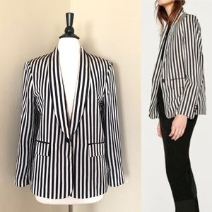 Zara Stripes Blazer Ecru and Black Size XL